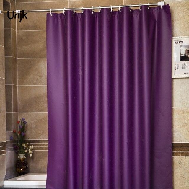 Urijk 1PC Modern Style Purple Bathroom Shower Curtains For Bath Waterproof Fabric Solid Curtain Mildewproof