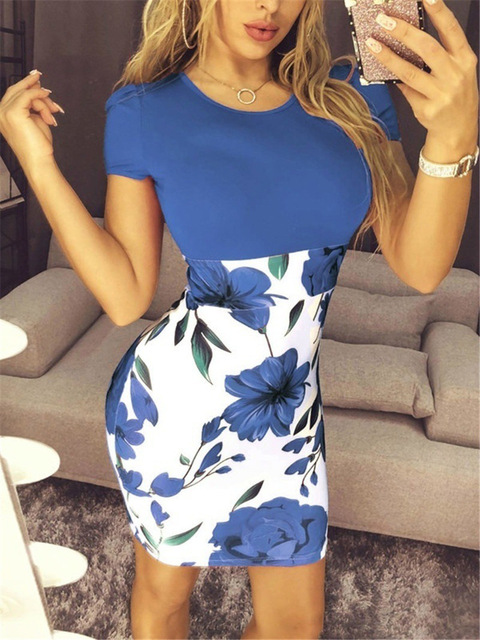 Summer Sexy Slim Bodycon Mini Party Dress Casual  Short Sleeve Splice Print Dress Knitted Vestidos 5XL Plus Size Women Clothing 4