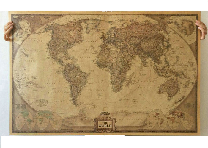World Map Paper Posters <font><b>Retro</b></font> Vintage Style <font><b>Retro</b></font> in <font><b>Wall</b></font> <font><b>Stickers</b></font> Home Decoraction Art Word Map Large paper posters PP-22 image