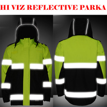 SFVest  Hi Viz Waterproof 2 Tone Yellow  Parka Storm reflective traffic Work Jacket Mens Warm with 3M tapes free shipping