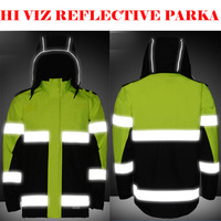 SFVest Salut À Savoir Étanche 2 Ton Jaune Parka Tempête réfléchissant trafic Travail Veste Hommes Chaud avec 3 M bandes livraison gratuite