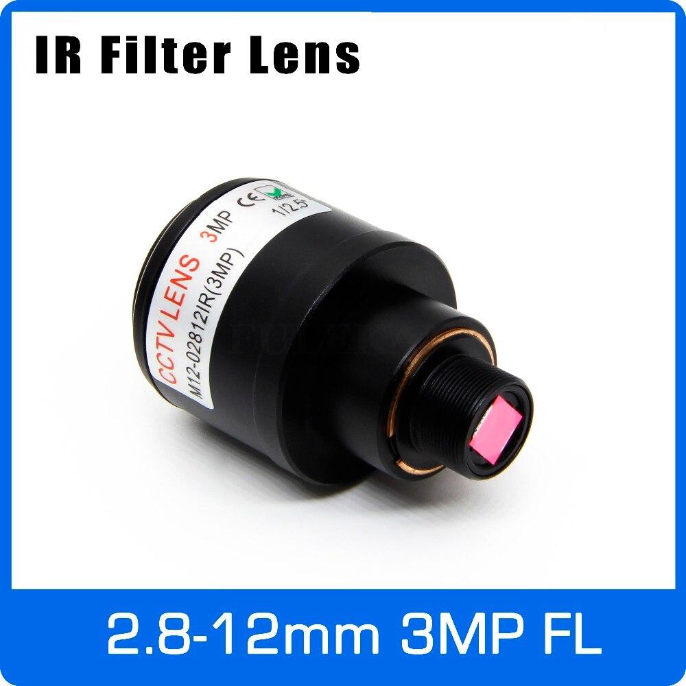 De 3 megapíxeles lente Varifocal con filtro de infrarrojos 2,8-12-12mm M12 montaje 1/2 5 pulgadas de enfoque Manual y Zoom para Cámara de Acción deportes Cámara