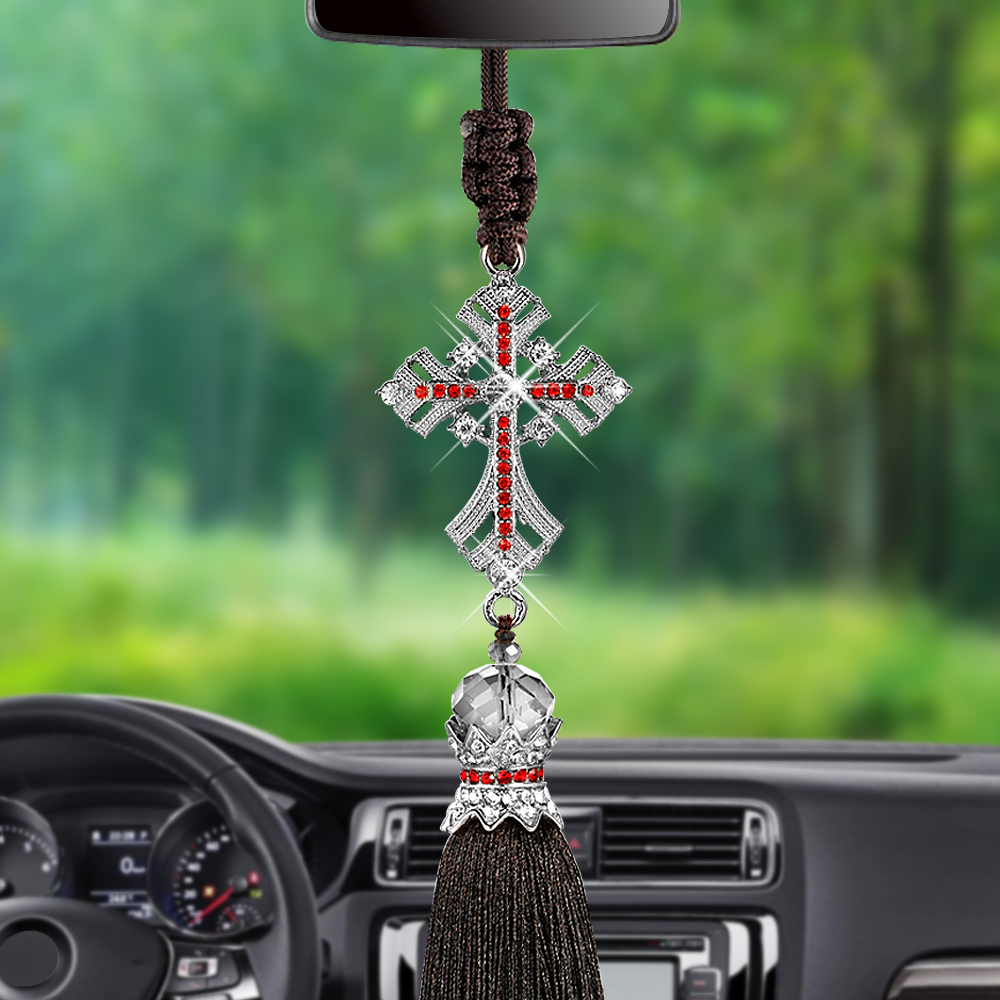 Car Pendant Crystal Diamond Jesus Cross Car Decoration Crucifix Automobile Rearview Mirror Christian Decor Hanging Accessories car pendant lucky cat car rearview mirror decoration ceramics alloy hanging ornament automobile dashboard accessories gift 60cm