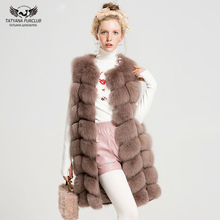 Tatyana Furclub Luxury Natural Fox Fur Coat 100% Real Vest Jacket Womens Girl Warm Fashion Winter