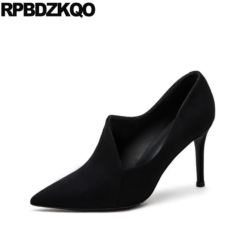 High Heels Thin Ankle Boots Genuine Leather Brand Designer Shoes Women Pointed Toe Suede Extreme Catwalk Black Pumps Ultra Super