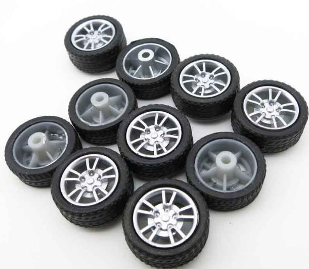 10pcs/lot 2*16mm Mini Rubber Wheel Diy Car Model Part Simulation Plastic Tires