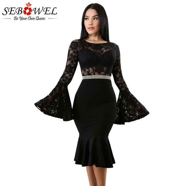f79fd2408cc07 Sebowel 2018 Black Lace Midi Dress Women Elegant Bell Long Sleeve Mermaid Party  Bodycon Dress See Through Ruffles Sexy Dresses