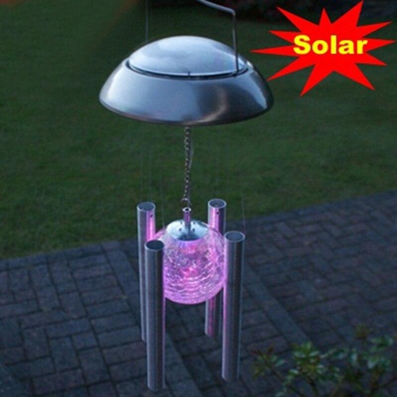 new windbell campanula shape led solar light outdoor lighting chandelier hanging lights for balcony courtyard garden