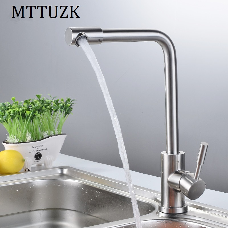MTTUZK High quality 304 stainless steel brushed kitchen faucet 360 degree rotary mouth basin faucet hot