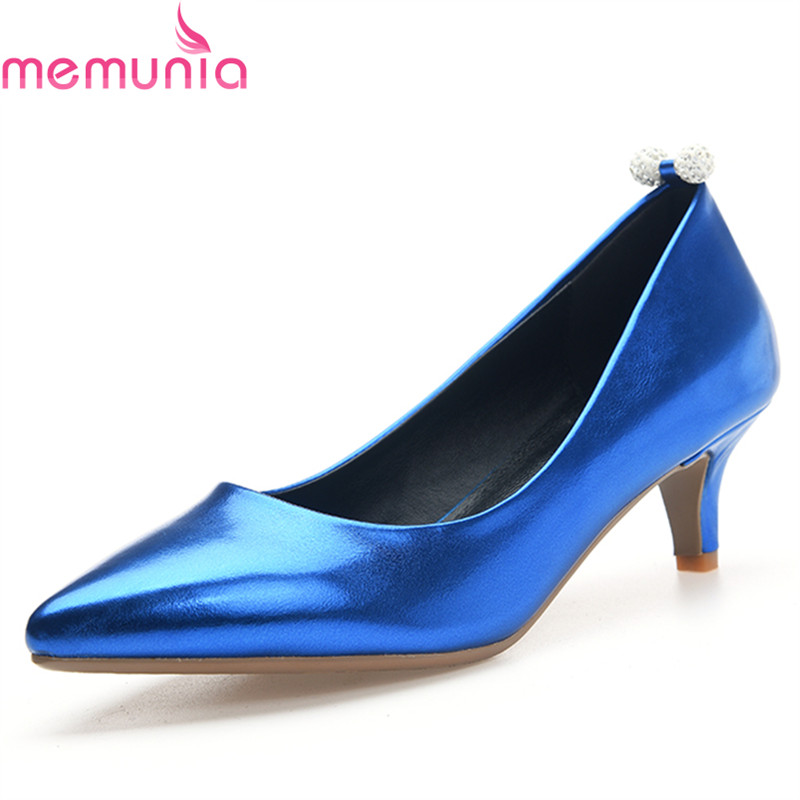 MEMUNIA spring autumn sexy stiletto heels pointed toe party shoes high quality elegant slip-on solid women shoes large size memunia 2017 fashion flock spring autumn single shoes women flats shoes solid pointed toe college style big size 34 47