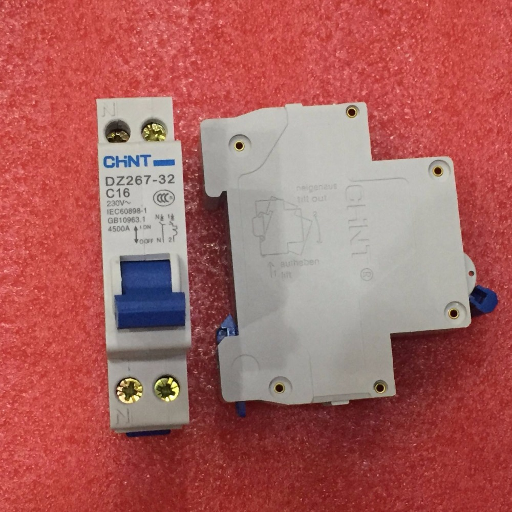 Free Shipping New CHINT Miniature circuit breaker DZ267-32 1P+N C16 16A Double inlet and Double outlet circuit protector breaker free shipping new chint miniature circuit breaker dz267 32 1p n c6 6a home circuit breaker circuit protector switch