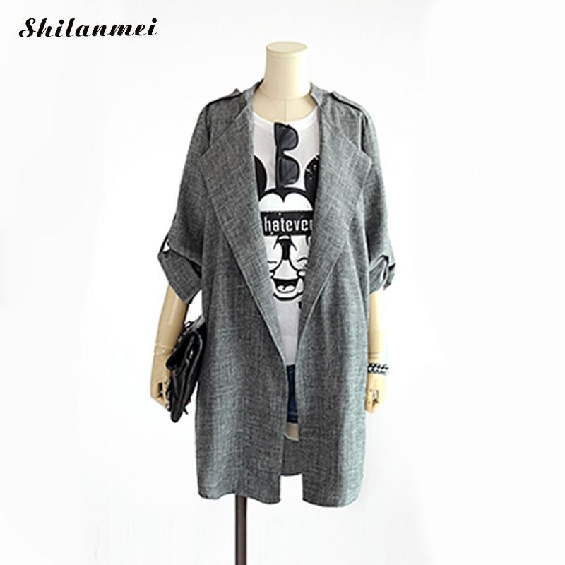 2018 New Fashion Women Long Coat Breasted Gray Suit Blazer Jacket Linen Suit Womens Plus Size Ladies Outerwear Female Work Suits