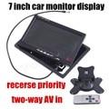 Para la cámara trasera envío libre Monitor Del Coche de 7 Pulgadas de color TFT Lcd de Coches inversa Monitor Con 2 entradas AV prioridad
