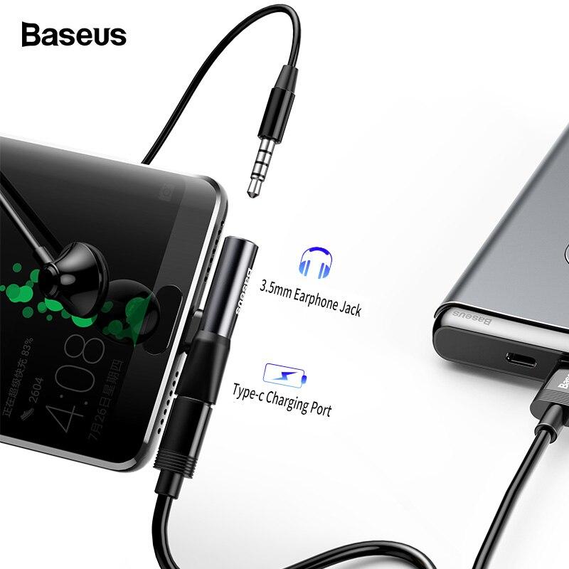 Baseus USB C a 3.5mm Aux Martinetti Audio Adattatore di Auricolare Tipo-C OTG Cavo di Ricarica Adattatore Audio Splitter per Huawei Xiaomi Oneplus