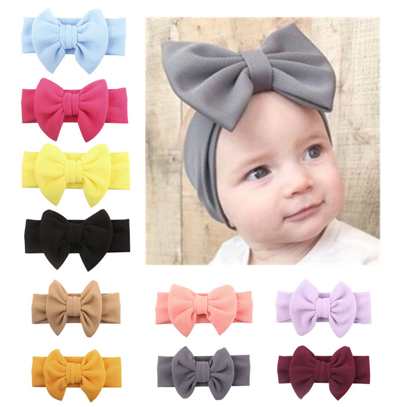 European and American spring nylon bow headband with solid wide nylon BB headband headscarf girl boy hood wrap hair accessories in Hair Accessories from Mother Kids