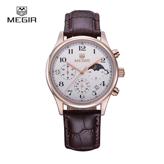 MEGIR Мужчины Luxury Brand Кварц Часы Мода Reloj Хомбре Нержавеющей Стали Водонепроницаемые Наручные Часы 5007