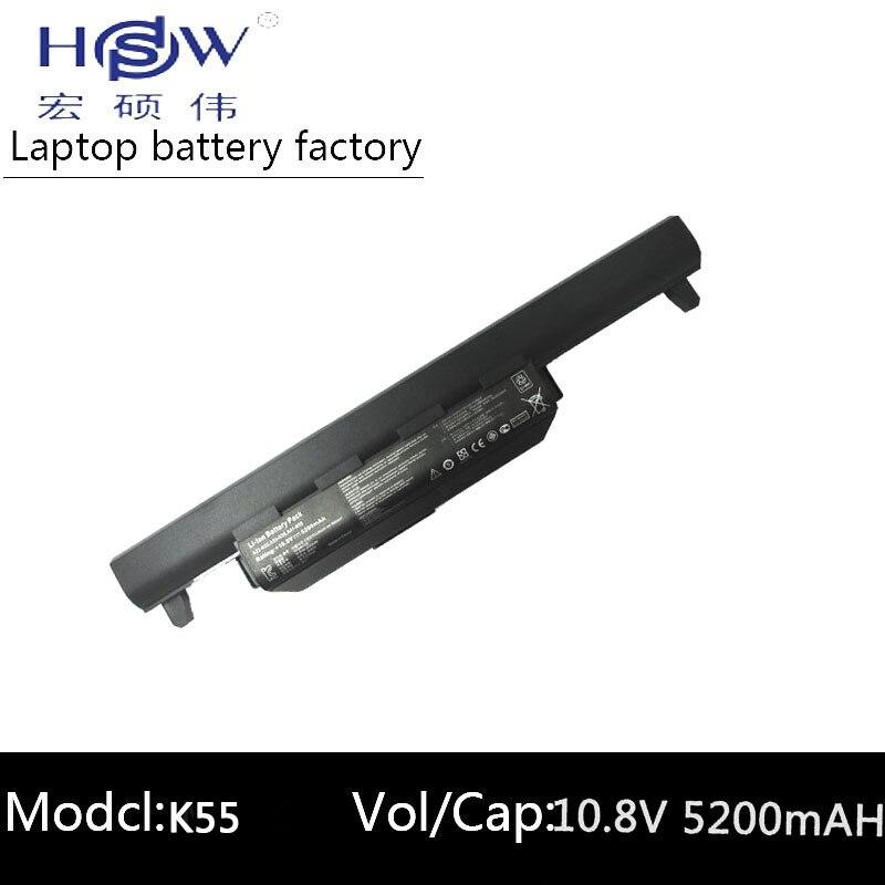 HSW 5200MAH klēpjdatoru akumulators asus A32 K55 A33-K55 A41-K55 A45 A55 A75 K45 K55 K75 X45 X55 X75 R400 R500 R700 U57 bateria akku