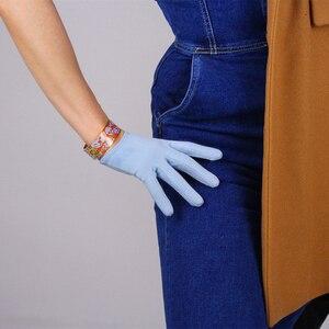 Image 2 - Guantes de ante de estilo corto para mujer, de 16cm mate guantes de piel de ante, manoplas de cuero de simulación para fiesta de baile, JP16