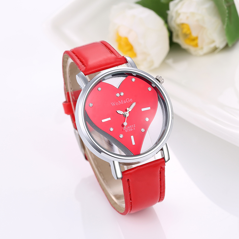 2017 New Top Luxury Brand Womage Womens Watches Fashion Valentine Love Heart Quartz-watch Hollow Crystal Designer Skeleton Watch love heart hollow out bracelet watch
