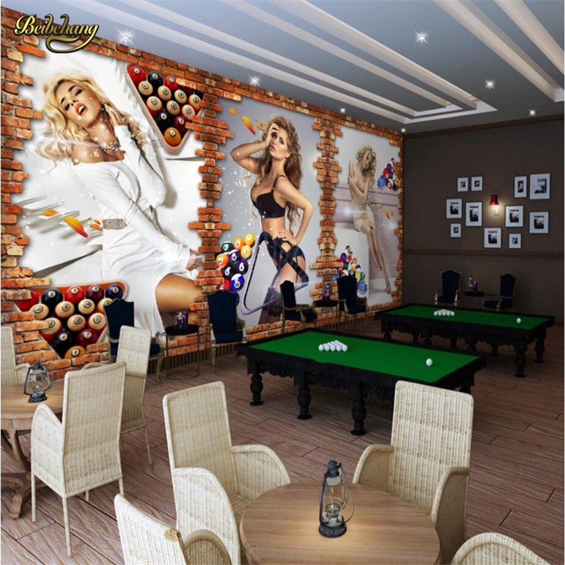 beibehang Snooker room <font><b>sexy</b></font> woman Custom <font><b>3D</b></font> Photo <font><b>wall</b></font> <font><b>papers</b></font> home decor Luxury Background <font><b>Wall</b></font> Mural Home Decor mural Wallpaper image