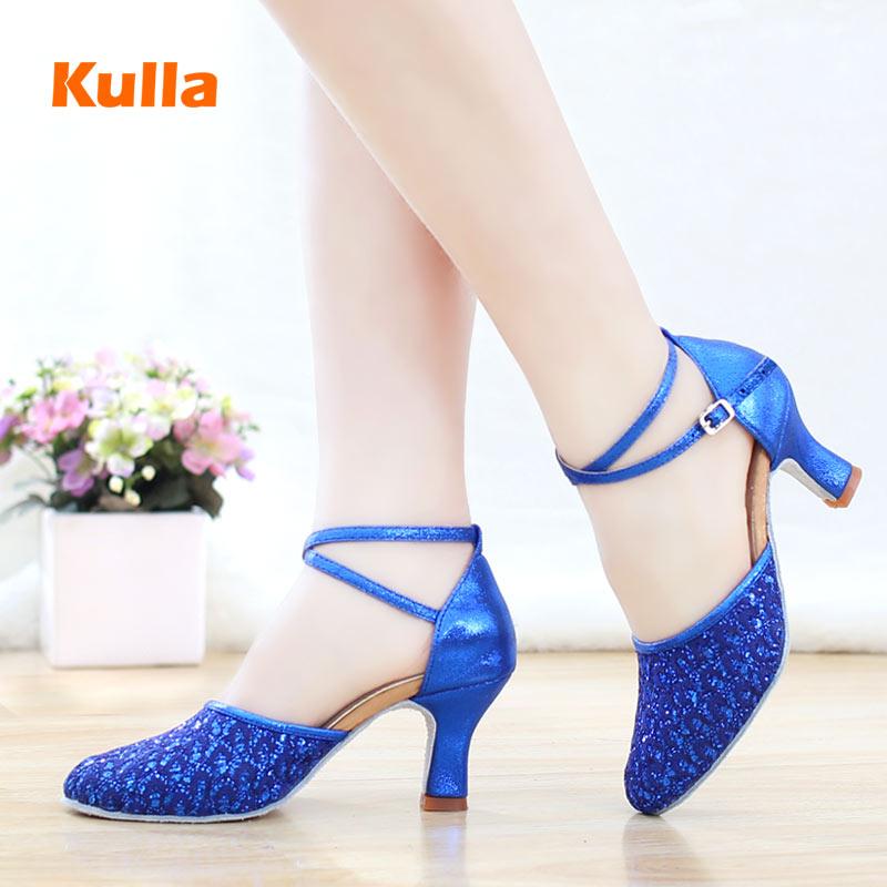 Soft Sole Women Latin Tango Salsa Dance Shoes High Heels 5cm/7cm Ladies Closed Toe Modern Jazz Ballroom Dancing Shoes Blue Black
