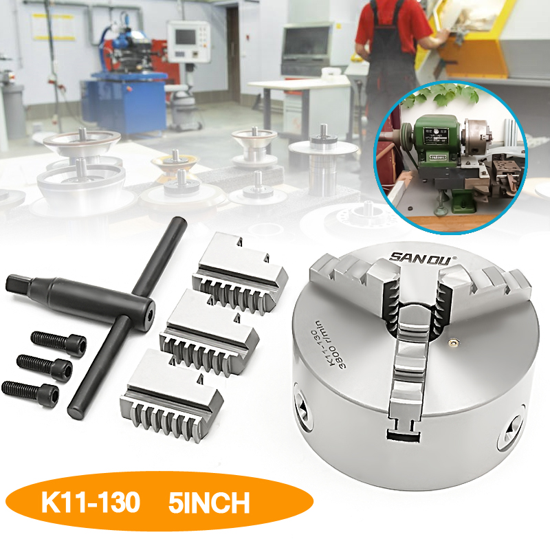 SANOU K11-130 130mm 3 Jaw Self Centering Lathe Chuck with Key Hard Solid Hexagon wrench Mounting screws for CNC Drilling Milling new cnc lathe chuck 3 jaw self centering 8 k11 200 200mm three jaws chuck for drilling milling machine with wrench and screws