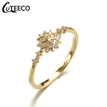 CUTEECO Gold Color Snowflake Rings Female Inlaid Zircon Delicate Rings For Women Wedding Jewelry