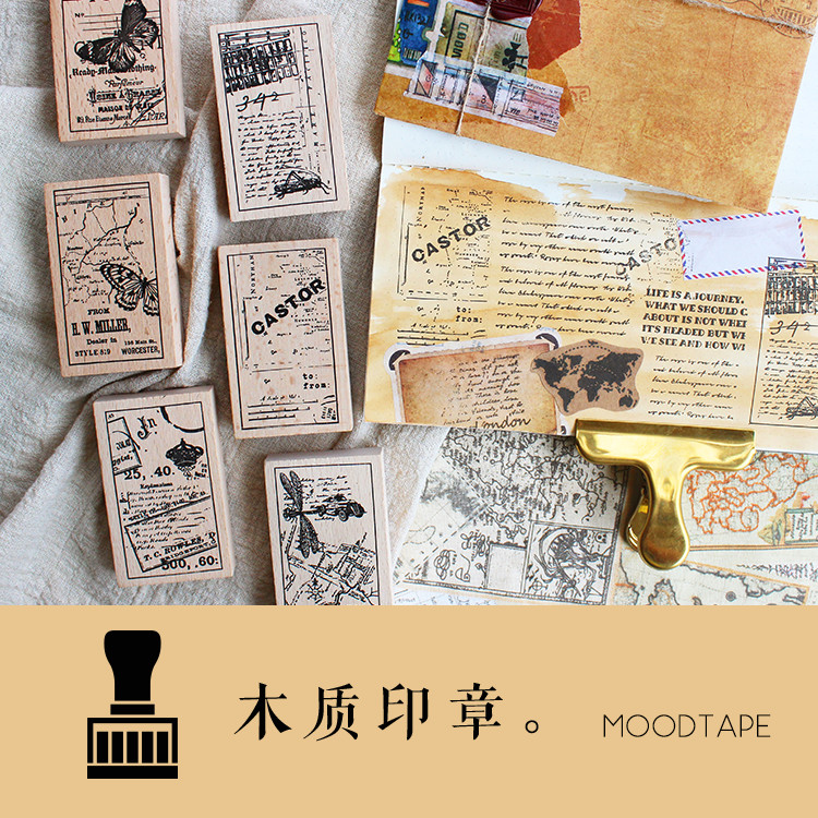 Moodtape Vintage Wood Clear Stamp For DIY Scrapbooking/photo Album Decorative Stamp Ancient Maps Animal Rubber Stamp Seal