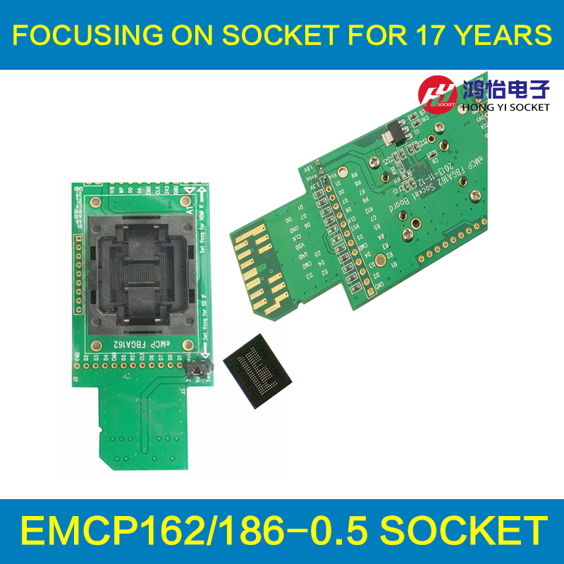 eMCP reader test socket with SD interface BGA162 BGA186 size 12x16mm pitch 0.5mm programmer adapter for data recovery open top