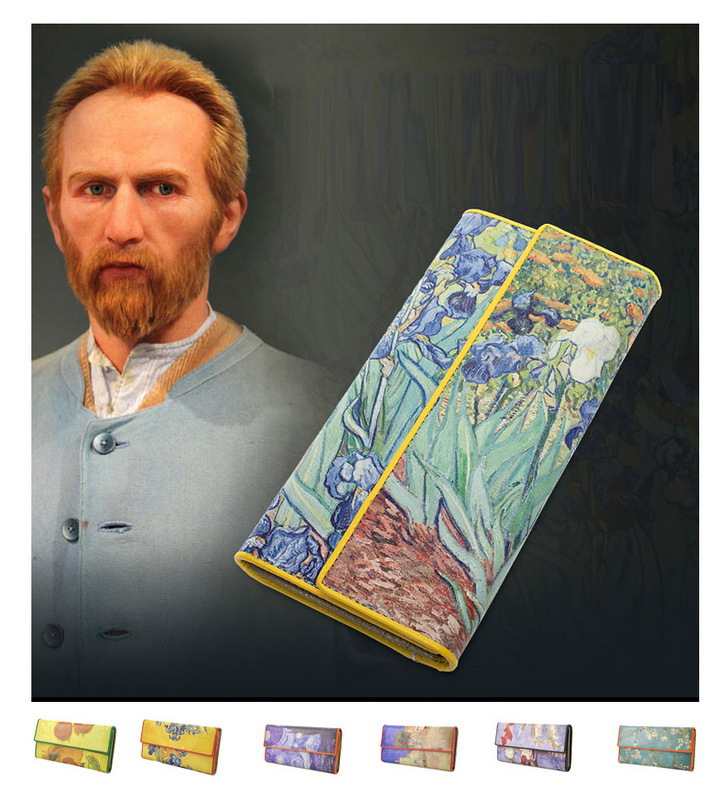 цена Women Leather Trifold Wallet Van Gogh Oil Painting Purse 3D Texture Mobile Case Vintage Retro Fashion Card Holder Zip Coin Bag онлайн в 2017 году