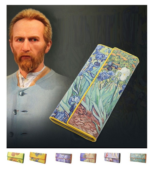 Women Leather Trifold Wallet Van Gogh Oil Painting Purse 3D Texture Mobile Case Vintage Retro Fashion Card Holder Zip Coin Bag