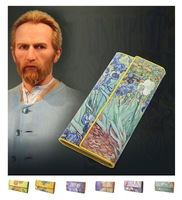Women Leather Trifold Wallet Van Gogh Oil Painting Purse 3D Texture Mobile Case Vintage Retro Fashion Card Holder Zip Coin Bag