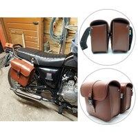 KEMiMOTO Motosiklet eyer çanta PU Deri için cruise araç yan Panniers Alet Çantası Heybe Harley Cruiser pazar sonra