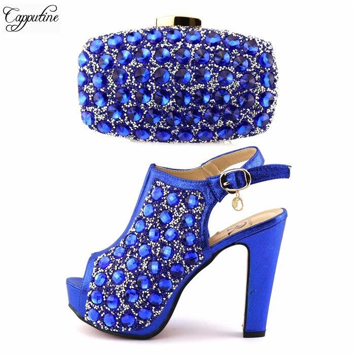 Высокий класс Королевский синий цвет с блестящими камнями вечерние высокий каблук сандалии обувь и сумки набор Высота каблука 12,5 см A825