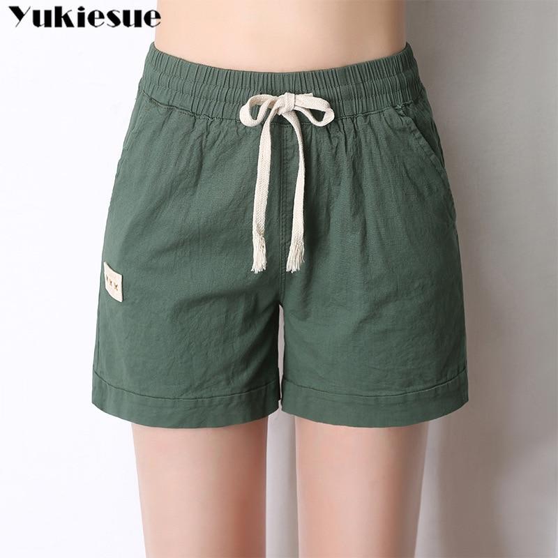 2019 summer cotton linen women's   shorts   high waist elastic candy color straight   short   pants female   short   pants Plus size