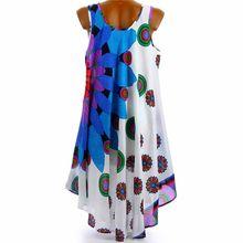 Women Plus Size Italian Floral Print Boho Sleeveless  Sundress Ladies Holiday Beach Dress