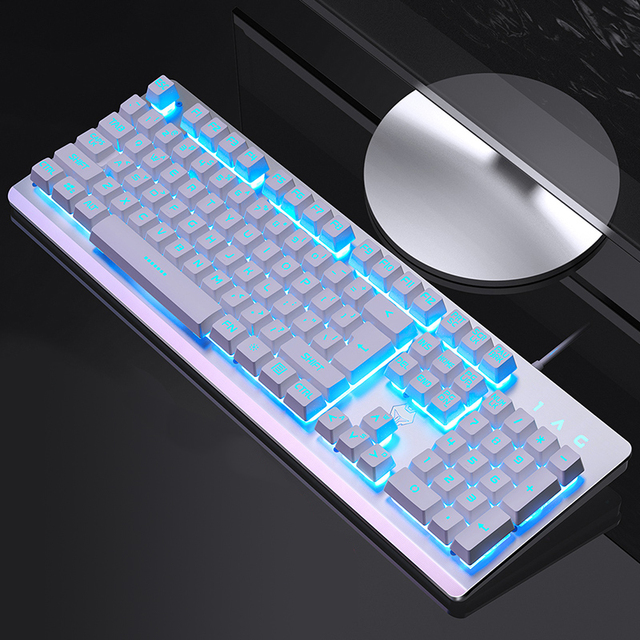 Gaming Keyboard 104 Keycaps RGB Backlit Waterproof Silent Keyboard Computer Gamer USB Wired For Desktop Laptop 3