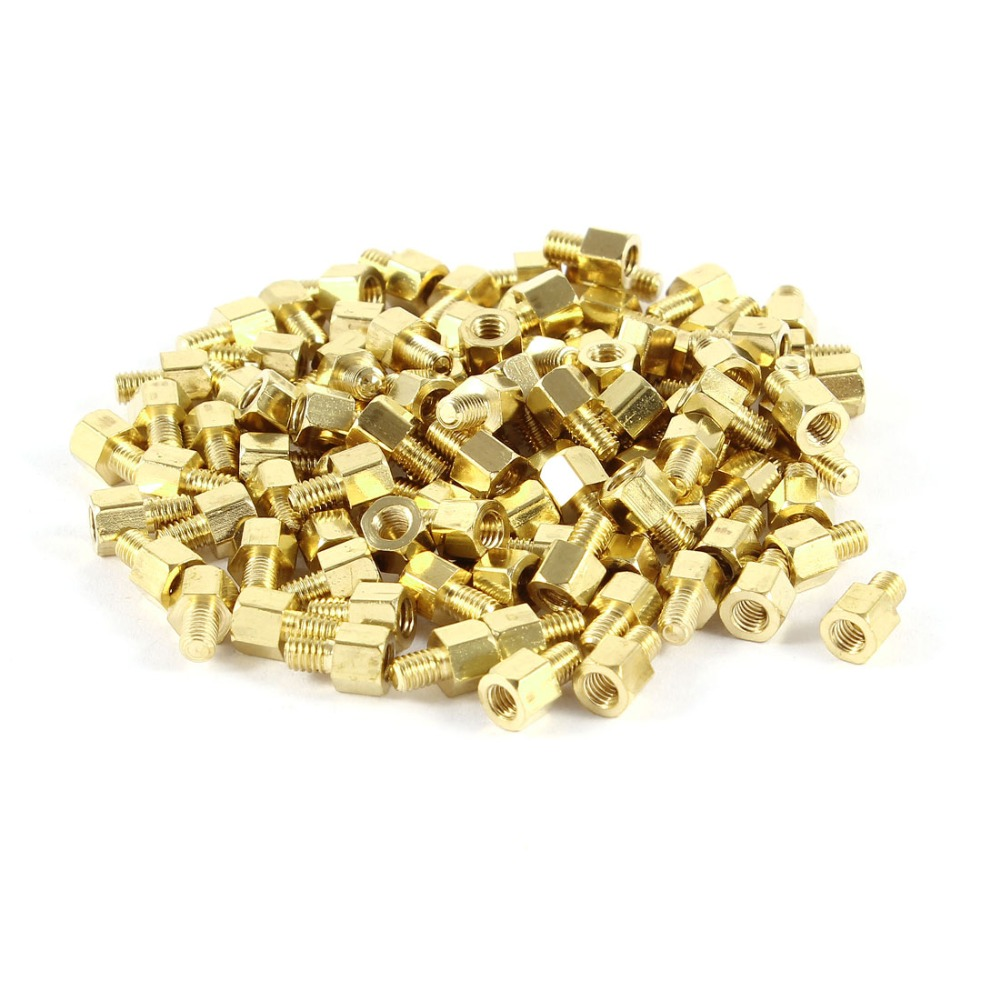 100 Pcs Brass Hex Standoff Spacer <font><b>M3x4mm</b></font> Female to <font><b>M3x4mm</b></font> Male M3 4+4mm Hexagonal Fasteners image