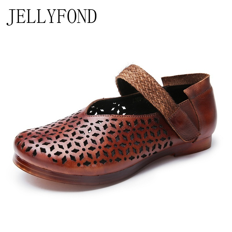 JELLYFOND Handmade Cow Leather Cuts Out Women Vintage Flats 2018 Spring Designer Round Toe Mary Janes Designer Shoes Woman