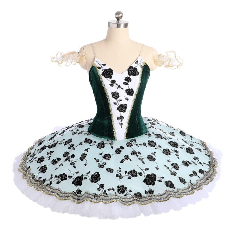 Costume de scène de Ballet professionnel vert Aqua jupe de filles de fée classique Tutu de crêpe vert menthe pour la compétition de filles
