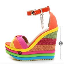 Summer sweet candy color metal thick high-heeled platform spell color sponge at the end of the rainbow female sandals fashion
