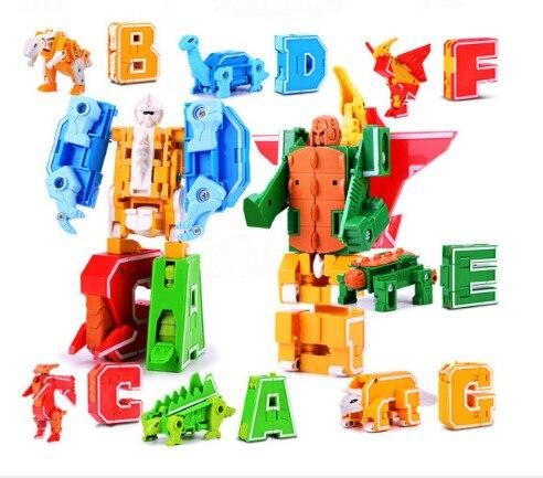 Робот-трансформер с английскими буквами/животные/динозавры, креативные Обучающие блоки, diy большой робот, деформация, строительные блоки, и...