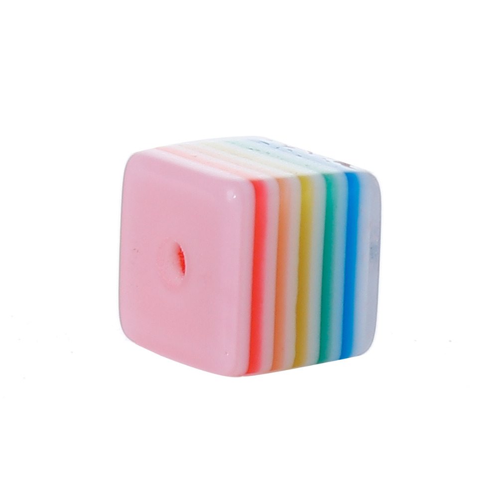 DoreenBeads Resin Multicolor Beads Cube Stripe Pattern DIY Components About 8mm( 3/8) x 8mm( 3/8), Hole: Approx 1.8mm, 100 PCs