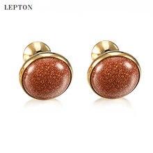 Роскошные запонки lepton с золотым камнем для мужчин рубашек