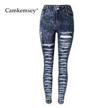 CamKemsey Street Wear Hole Ripped Jeans For Women High Waist Stretch Skinny Jeans Woman 3XL Plus Size Capris Female Pencil Pants