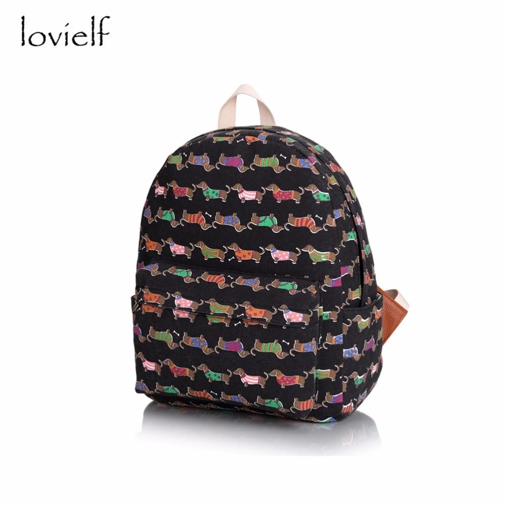 lovielf girl Cute Cartoon Canvas Polyester Dog school travel book Backpack children laptop adolescent bookbag adolescent jaspreet kashyap active transport to school in adolescent s