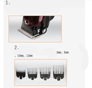 Image 5 - Kemei máquina profesional de corte de pelo eléctrica con cuchilla de titanio, corte de pelo, barbero, peine de límite para niños y adultos, 110 240V