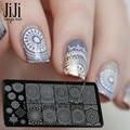 Jiji Trendy Nail 1 unids Nueva Moda Nail Art Sello Estampado imagen Placa de Acero Inoxidable Lleno de Flores Plantillas Herramientas Del Clavo de DIY XYJ13