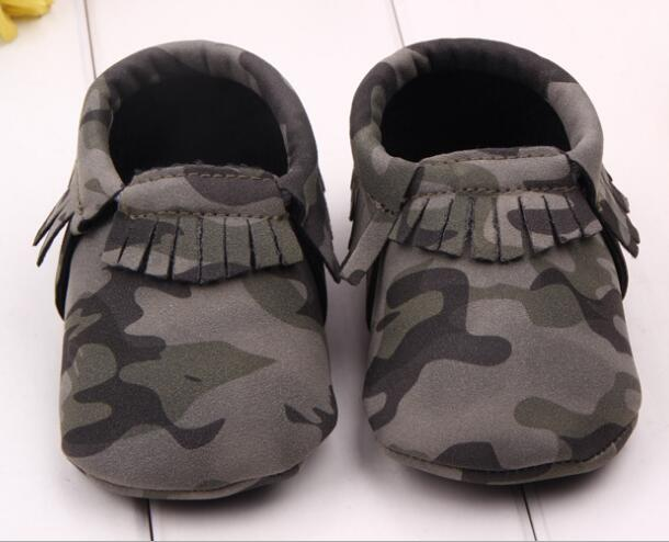 05e491f6c85d6 Infant Toddler camo Leopard baby shoes Soft PU Leather Tassel Moccasins soft  sole fashion prewalker first