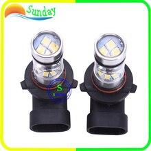 2 PCS 9005 HB3 9006 HB4 H3 H4 H7 H8 H11 6000 K 100 W Luz Do Projetor LEVOU Luz de Nevoeiro Luz de Condução Lâmpada 20LED Branco Farol Baixo luz